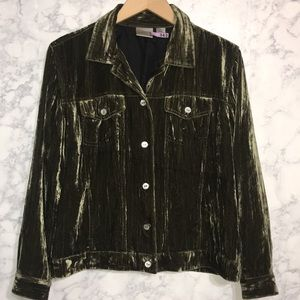 Chico's Crushed Velvet Jacket Sz 1